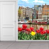Tulips &Boats by Canal Amsterdam, Holland Wall Mural Landscape Photo Wallpaper