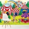 Cartoon Fairground Clown, Carousel, Circus Wall Mural kids Photo Wallpaper
