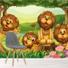 Group Of Lions In Jungle Fun Cartoon Wall Mural Childrens Photo Wallpaper