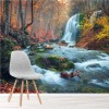 Waterfall & River Through Autumn Forest Wall Mural Landscape Photo Wallpaper