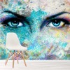 Colourful Beautiful Goddess Eyes Grafitti Art Wall Mural Fashion Photo Wallpaper