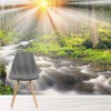 Sunlight Shines On River Autumn Forest & Trees Wall Mural Nature Photo Wallpaper