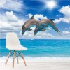 Dolphins Jumping Blue Sea Marine Animals Wall Mural Nature Photo Wallpaper