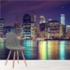 Manhattan Lit At Night New York City Skyline Wall Mural Travel Photo Wallpaper