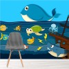 Cartoon Whale, Shark Shipwreck Under The Sea Wall Mural kids Photo Wallpaper