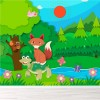 Fox, Butterflies, Bird Animals In Forest Cartoon Wall Mural kids Photo Wallpaper