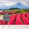 Mount Fuji Volcano Floral Scenery Japan Wall Mural Landscape Photo Wallpaper