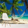 Hammock On Palm Trees & Tropical Paradise Beach Wall Mural Photo Wallpaper