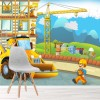 Building Site with Digger & Crane Cartoon Wall Mural kids Photo Wallpaper