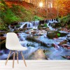 Waterfall Through Autumn Forest At Sunset Rivers Wall Mural Photo Wallpaper