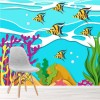 Fish Swim In Coral Reef Cartoon Under The Sea Wall Mural kids Photo Wallpaper