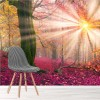 Sun Shines In Mystical Pink Forest Trees Wall Mural Landscape Photo Wallpaper