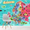 Map Of Europe Cartoon Illustration Educational Wall Mural kids Photo Wallpaper