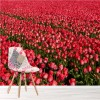 Field Of Pink Tulips Flower Landcape Wall Mural Floral Photo Wallpaper