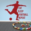 Eat Sleep Football Repeat Sports Quotes Wall Sticker Home Art Decals Decor