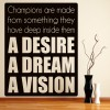 Desire Dream Vision Inspirational Sports Quote Wall Sticker Home Art Decal Decor