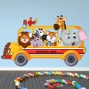 Safari Animals On School Bus kids Colour Wall Stickers Animal Art Decals