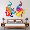 Pair Of Rainbow Peacocks Animals Colour Wall Stickers Home Decor Art Decals