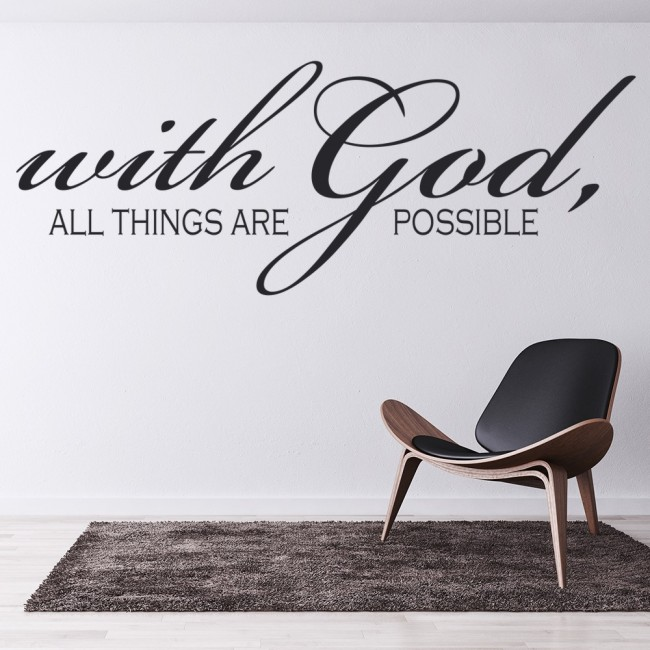 with god all things are possible wall sticker religious wall art. Black Bedroom Furniture Sets. Home Design Ideas