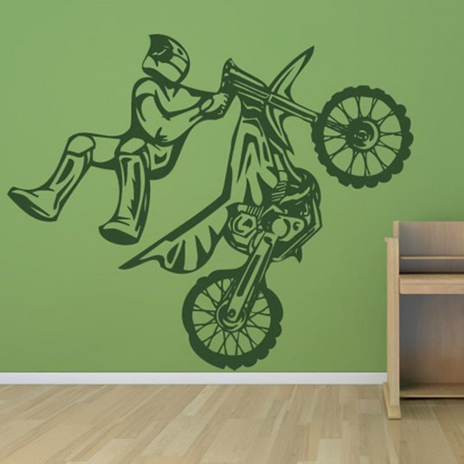 Stunt bike motocross motorbike wall stickers kids decor for Dirt bike wall mural