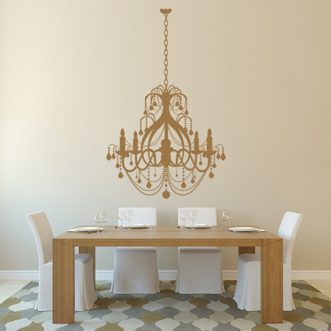 Grand chandelier elegant dining room wall stickers home for Dining room wall art stickers