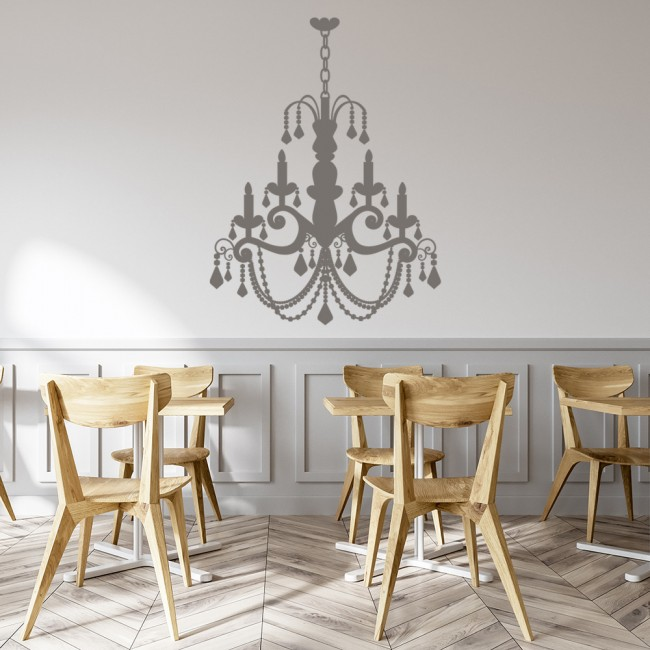 grand old fashioned candle chandelier wall sticker