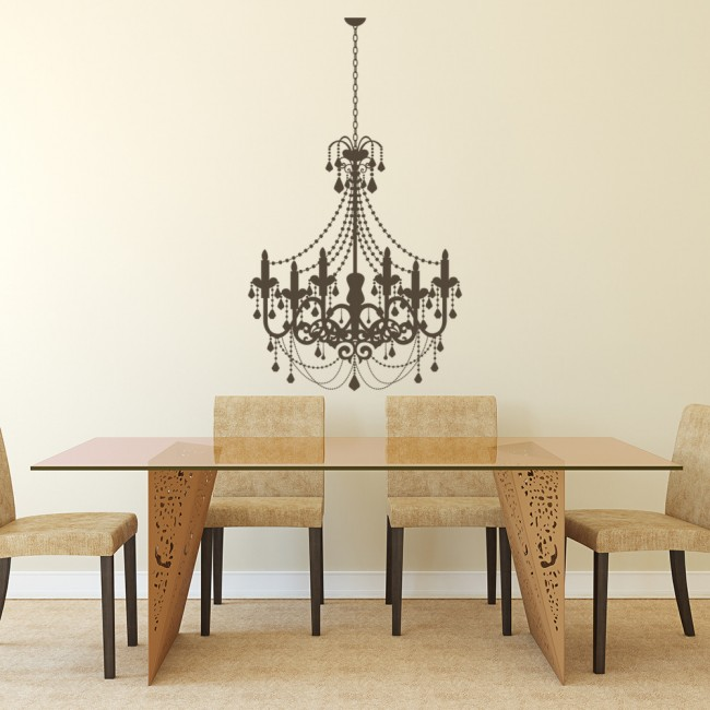 Old Fashioned Candle Chandelier Wall Sticker Decorative