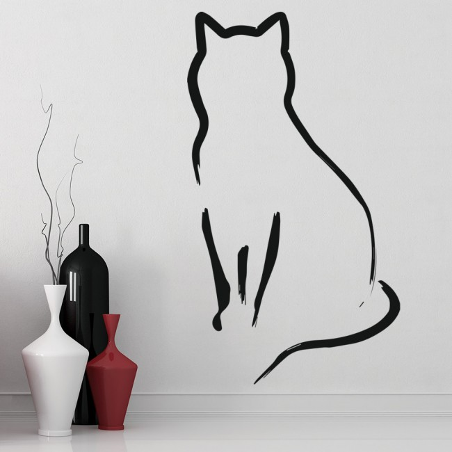 cat outline wall sticker animal wall art new product cats amp patterned cats wall stickers spin