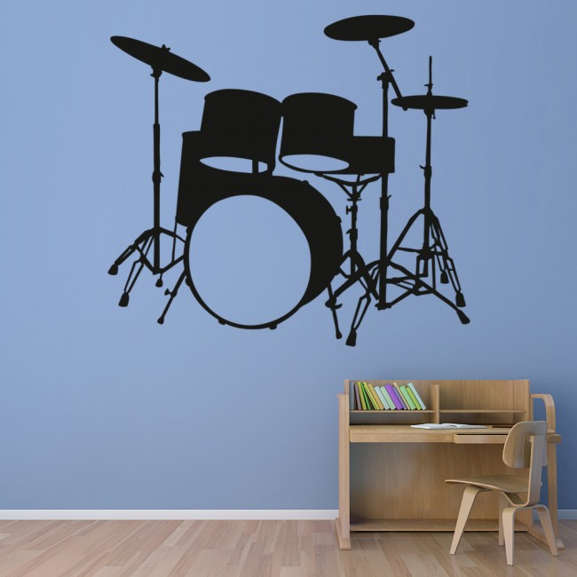 drum kit silhouette musical notes instruments wall stickers music art decals. Black Bedroom Furniture Sets. Home Design Ideas