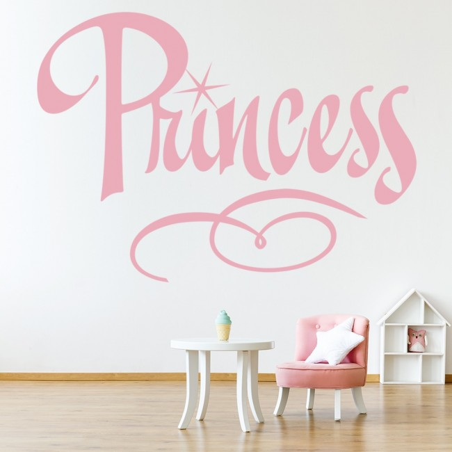 Wall Decoration Text : Princess text wall sticker girl s bedroom art