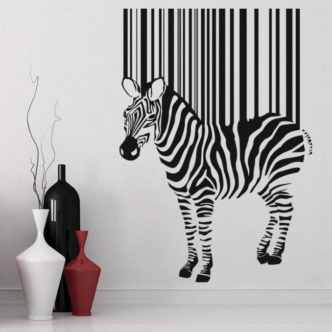 zebra barcode blend optical illusion wild animals wall decorative stickers zebra poured paint decorative stickers