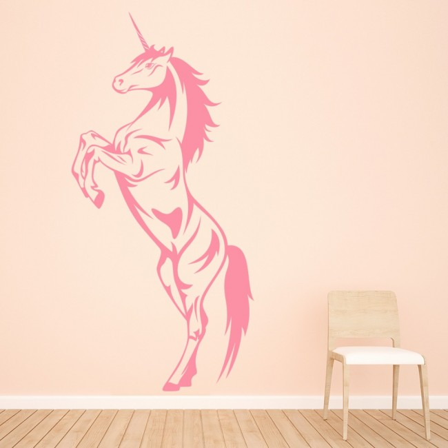 unicorn rearing fantasy horse mythical creatures wall jaf graphics pink unicorn wall sticker