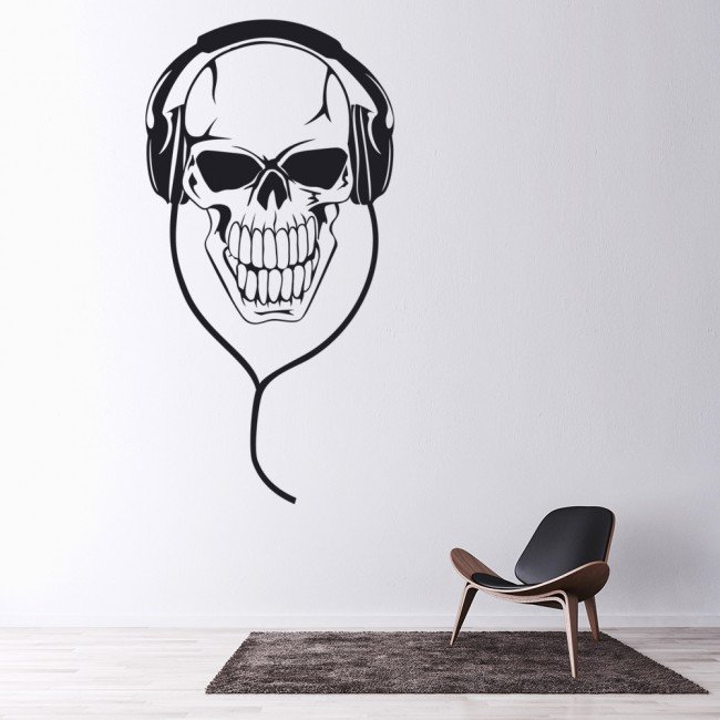 skull headphones musicians band logos wall stickers. Black Bedroom Furniture Sets. Home Design Ideas