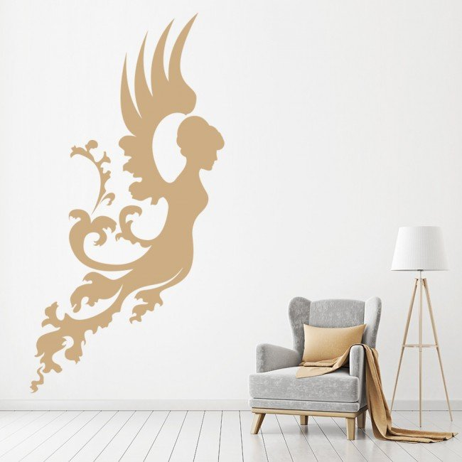 Floral angel wall sticker angel wall art for Angel wall decoration