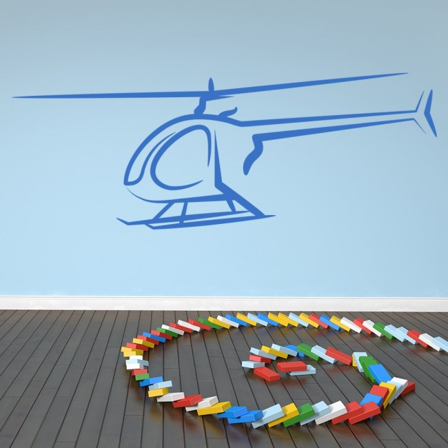 helicopter outline wall sticker transport wall art
