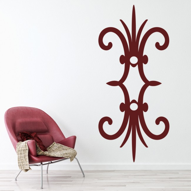 Reflected fleur de lis wall sticker embellishment wall art Fleur de lis wall
