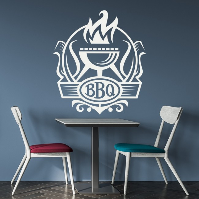 Bbq Restaurant Wall Decor : Barbecue badge flaming bbq food quotes slogans wall