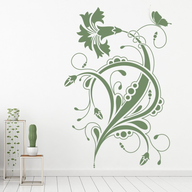 Wall Art Stickers Dunelm : Floral design wall sticker embellishment art