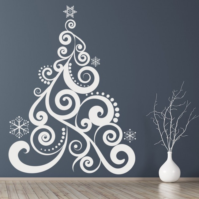 Christmas Wall Decor Images : Swirl christmas tree wall sticker art