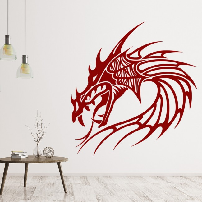 Dragon Head Spiked Fantasy Dragons Wall Stickers Home