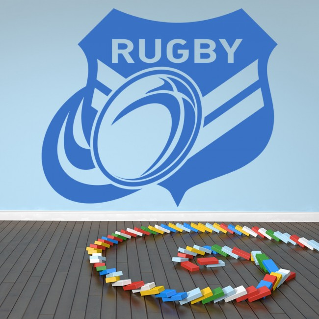 rugby badge wall art sticker wall decal rugby ball spinning ball rugby game rugby wall sticker gym