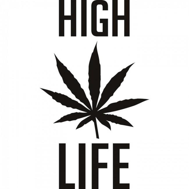 High Life Cannabis Cartoon Print Home Quotes Wall Stickers ...