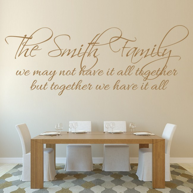 Family name wall art quote wall sticker for Home decor quotes on wall