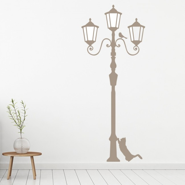 Lamp Post With Cat & Bird United Kingdom Wall Stickers Home Decor Art Decals