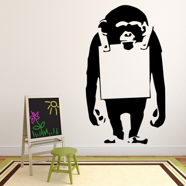 chimp board banksy graffiti street art wall stickers home