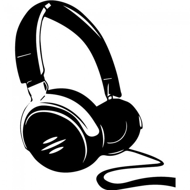 Headphones Silhouette Wall Sticker Music Wall Art