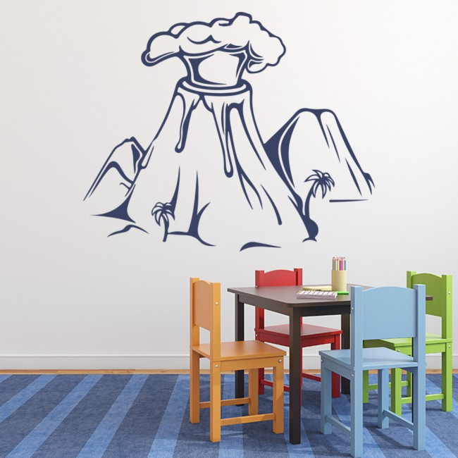 Nature Wall Decor Stickers : Erupting volcano wall sticker nature art