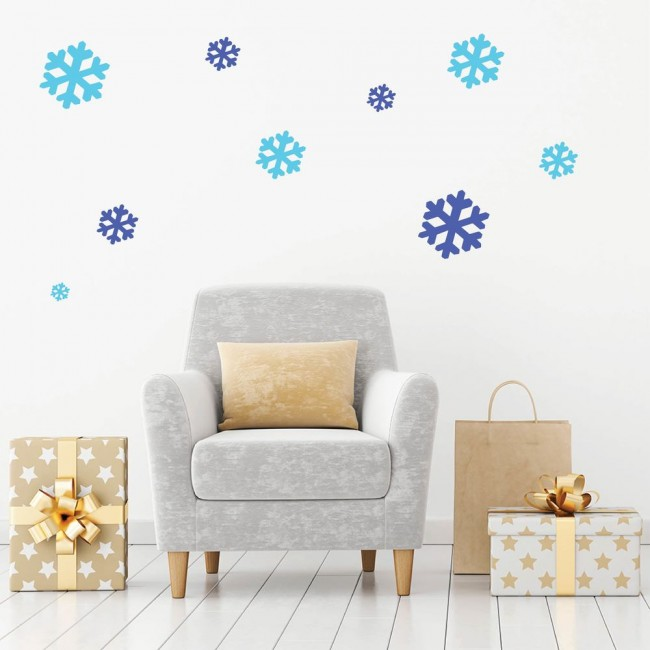 simple snowflake wall sticker creative multi pack wall decal art. Black Bedroom Furniture Sets. Home Design Ideas