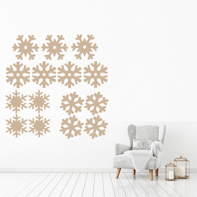 snowflake silhouette group wall sticker creative multi pack wall decal art. Black Bedroom Furniture Sets. Home Design Ideas