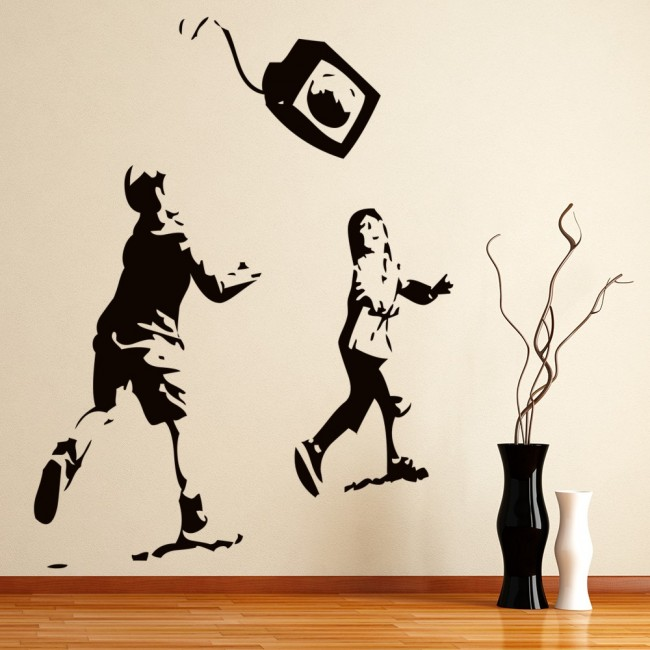 banksy playing with tv wall sticker banksy wall art